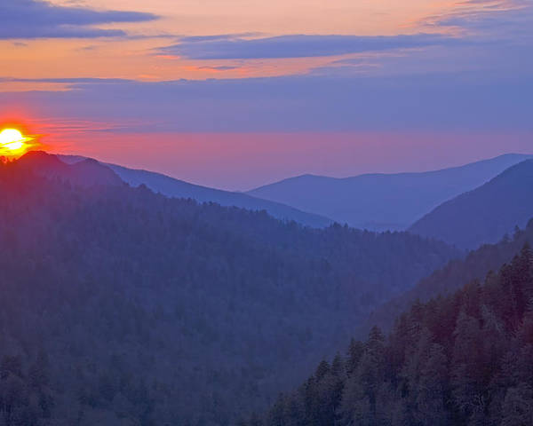 Sunset Poster featuring the photograph Sunset In Great Smoky Mountain National Park Tennessee by Brendan Reals