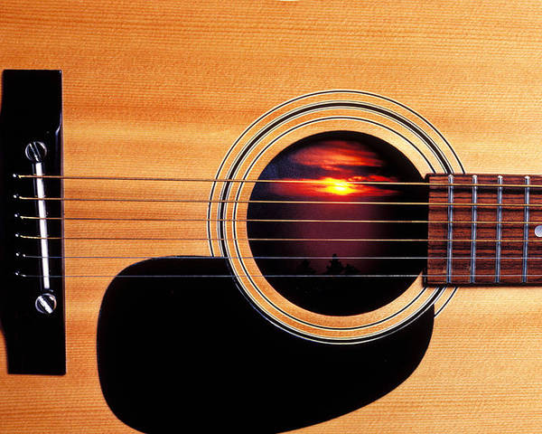 Guitar Poster featuring the photograph Sunset In Guitar by Garry Gay