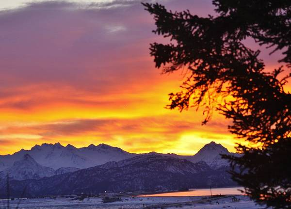 Sunset In Homer Alaska Poster featuring the photograph Sunset In Homer Alaska by Lori Mahaffey