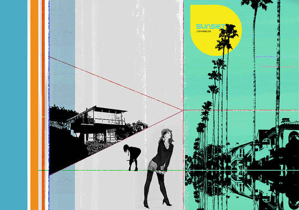 Los Angeles Poster featuring the photograph Sunset In La by Naxart Studio