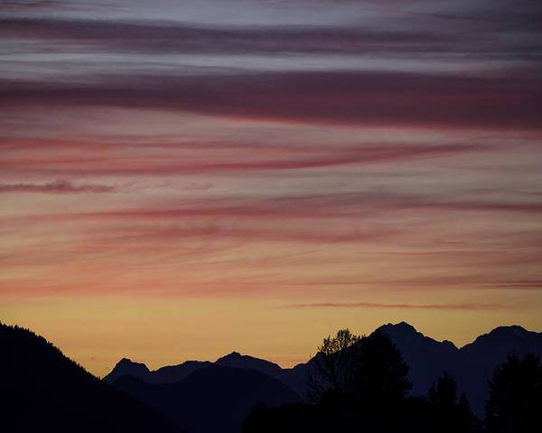 Sunset Poster featuring the photograph Sunset In The Mountains by Dave Steers