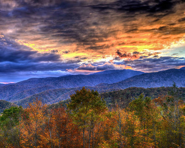 Great Smoky Mountains National Park Poster featuring the photograph Sunset In The Smokies by Don Mercer