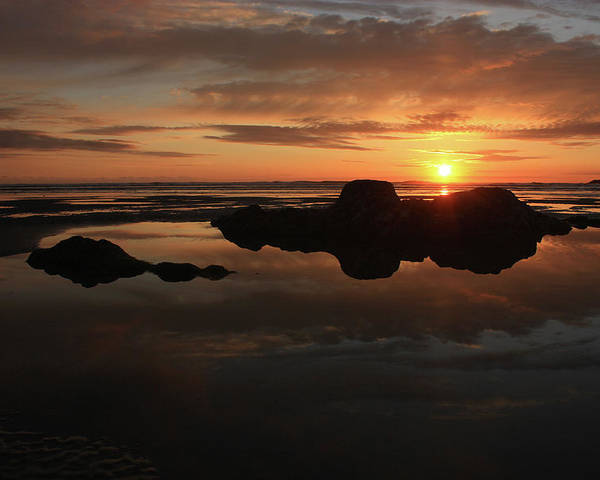 Sunset Poster featuring the photograph Sunset In Yachats Oregon by Kami McKeon