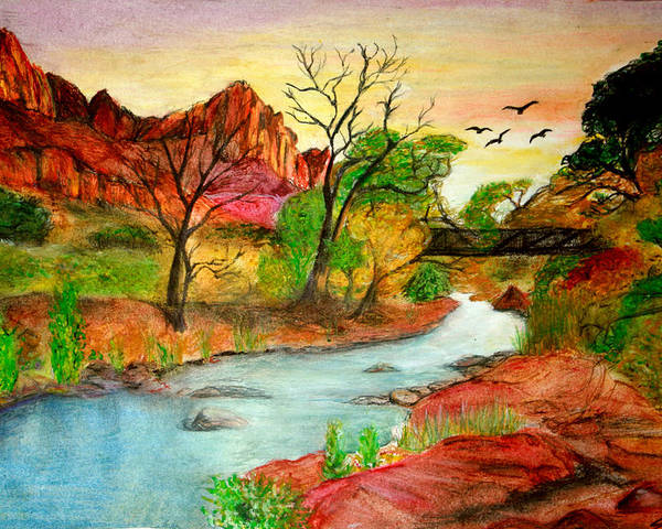 Zion Poster featuring the drawing Sunset In Zion by Joanna Aud