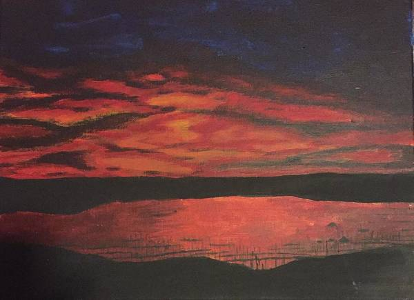 Sunset Poster featuring the painting Sunset Lake by Gerald Deering
