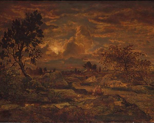 Nature Poster featuring the painting Sunset Near Arbonne , Theodore Rousseau by Theodore Rousseau