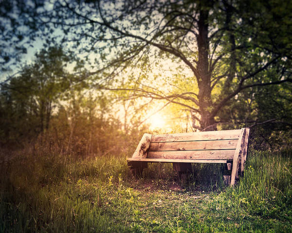 Landscape Poster featuring the photograph Sunset On A Wooden Bench by Scott Norris