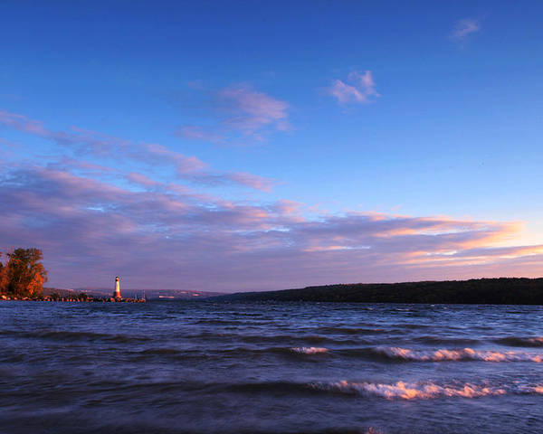 Ithaca Poster featuring the photograph Sunset On Cayuga Lake Ithaca by Paul Ge