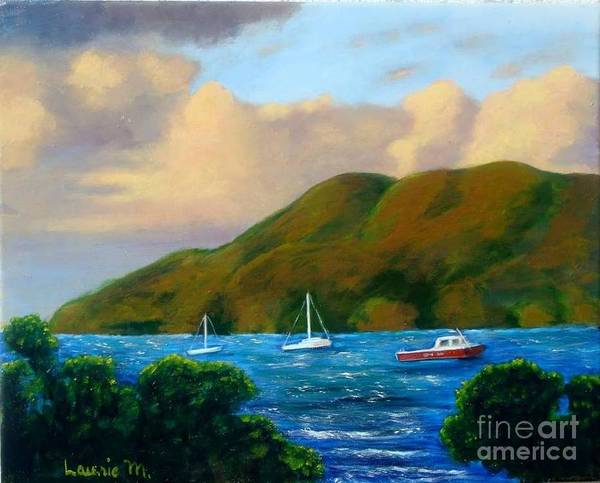 Sunset Poster featuring the painting Sunset On Cruz Bay by Laurie Morgan
