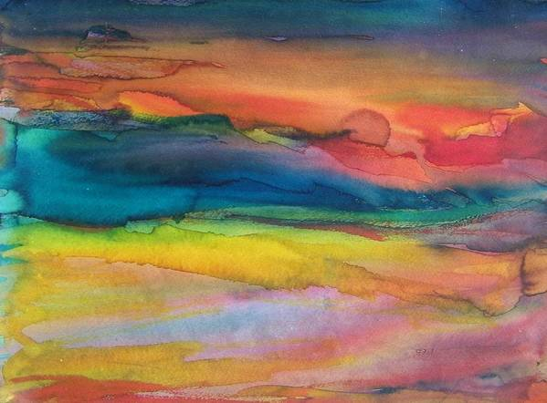 Abstract Poster featuring the painting Sunset On Jays Beach by Judith Redman