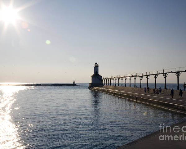 Lake Michigan Poster featuring the photograph Sunset On Lake Michigan by Jeannie Burleson