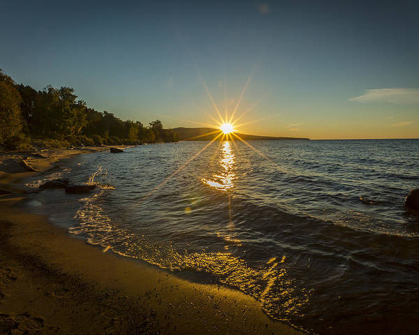Evening Poster featuring the photograph Sunset On Lake Superior by Jack R Perry
