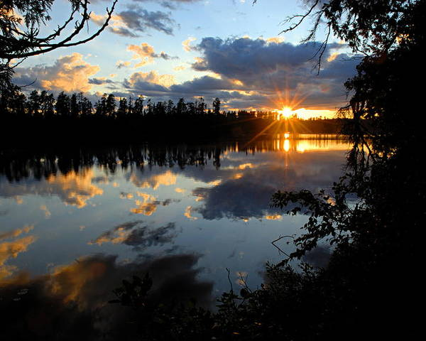 Boundary Waters Canoe Area Wilderness Poster featuring the photograph Sunset On Polly Lake by Larry Ricker