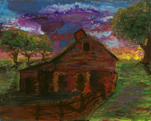 Barn Poster featuring the painting Sunset On The Farm by Davis Elliott