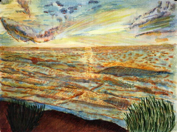 Landcape Great Sea Painting Artwork Watercolor Poster featuring the painting Sunset On The Great Sea. by Shlomo Zangilevitch