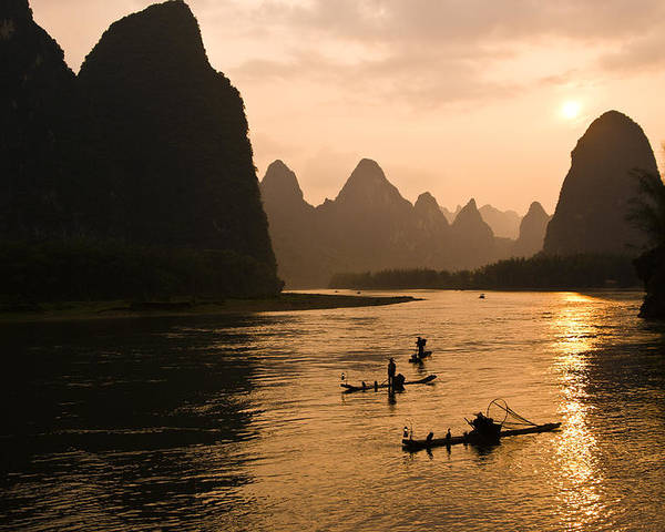 Asia Poster featuring the photograph Sunset on the Li River by Michele Burgess