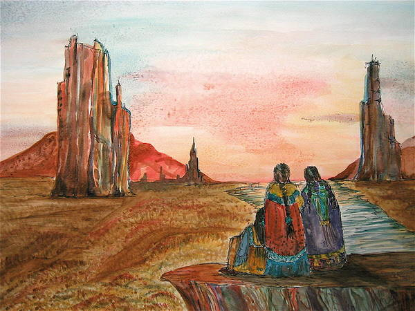 Original Art Poster featuring the painting Sunset On The Mesa by K Hoover