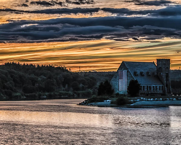 Landscape Poster featuring the photograph Sunset on The Old Stone Church by Bob Bernier