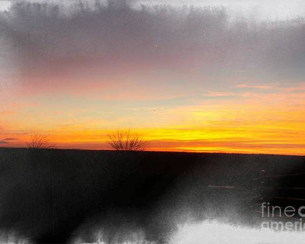 Sun Poster featuring the photograph Sunset On The Ranch 3 by Sharon Woodrum