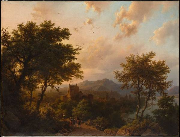 Nature Poster featuring the painting Sunset On The Rhine , Barend Cornelis Koekkoek by Barend Cornelis Koekkoek