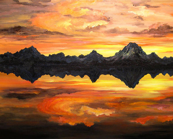 Connie Tom Poster featuring the painting Sunset Over Jackson Lake And The Grand Tetons by Connie Tom