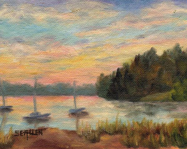 Sunset Poster featuring the painting Sunset Over Massabessic by Sharon E Allen