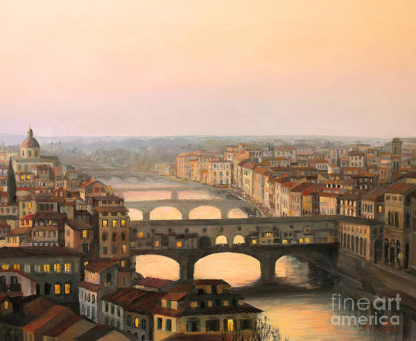 Ancient Poster featuring the painting Sunset over ponte Vecchio in Florence by Kiril Stanchev