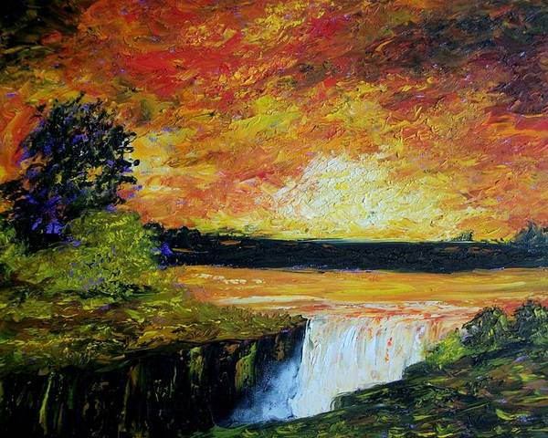 Sunset Poster featuring the painting Sunset Over The Lake by Tami Booher