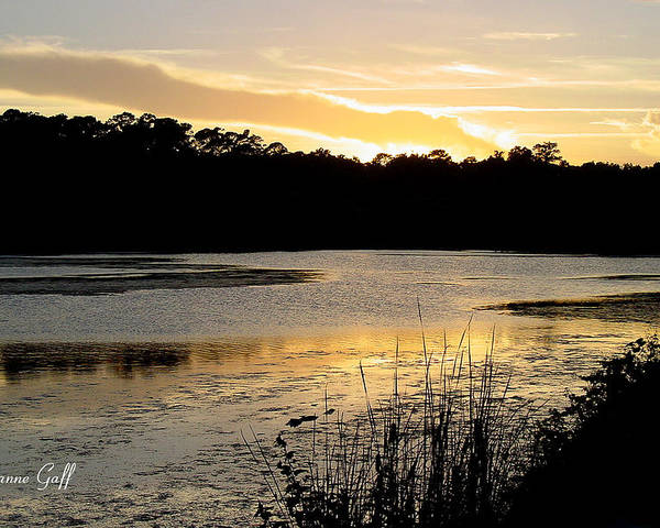 Inlet Poster featuring the photograph Sunset Over The Marsh by Suzanne Gaff