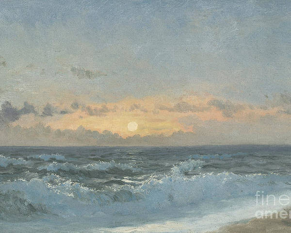 Seascape Poster featuring the painting Sunset Over The Sea by William Pye