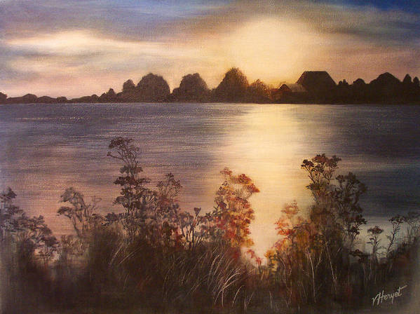 Sunset Poster featuring the painting Sunset Over Westham Island by Victoria Heryet