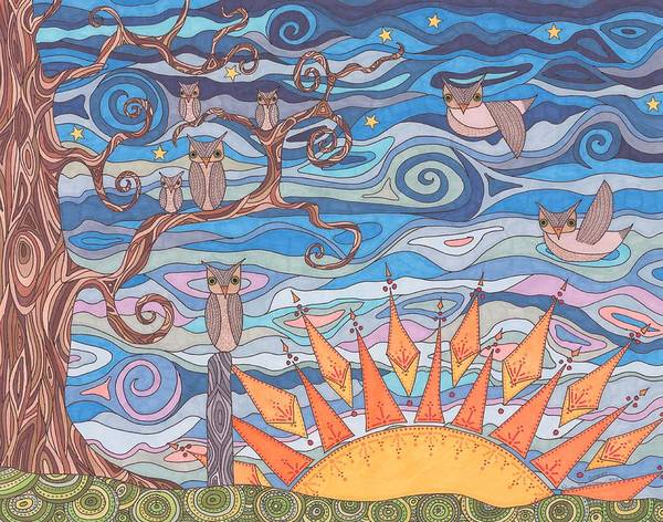 Sunset Poster featuring the drawing Sunset by Pamela Schiermeyer