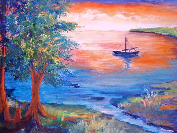 Boat Poster featuring the painting Sunset Sailing by Anne Dentler