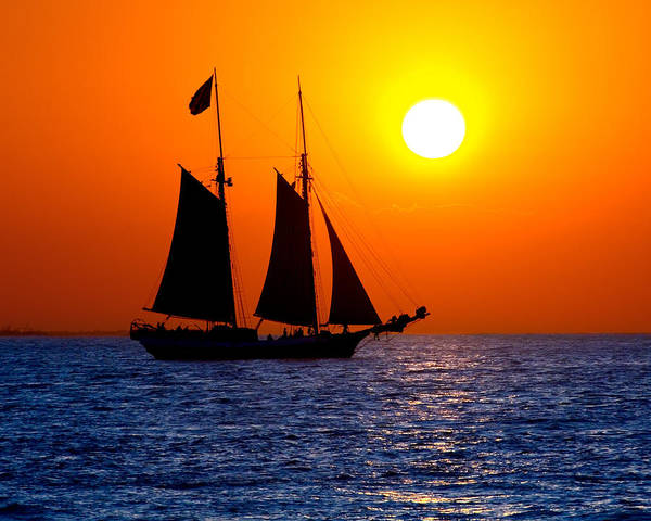 Yellow Poster featuring the photograph Sunset Sailing In Key West Florida by Michael Bessler