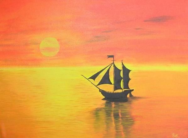 Sunrise Poster featuring the painting Sunrise Sea Ship Sss by Riya Rathore