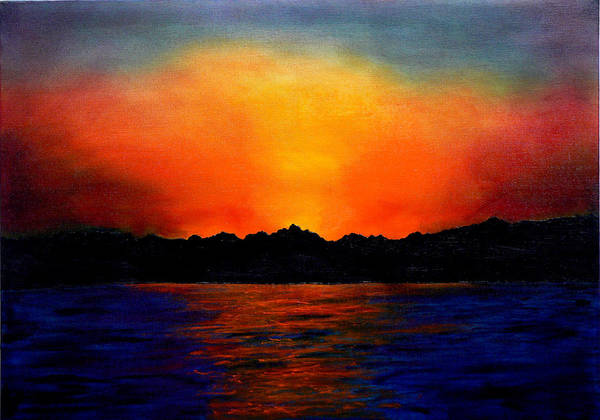 Sinai Sunset Poster featuring the painting Sunset Sinai by Helmut Rottler