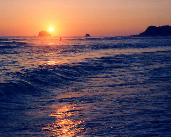 Sunset Poster featuring the photograph Sunset Swimmer At Zipolite by Lyle Crump