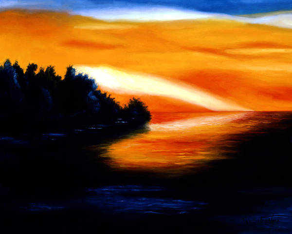 Pop Art Poster featuring the painting Sunset by Tak Salmastyan