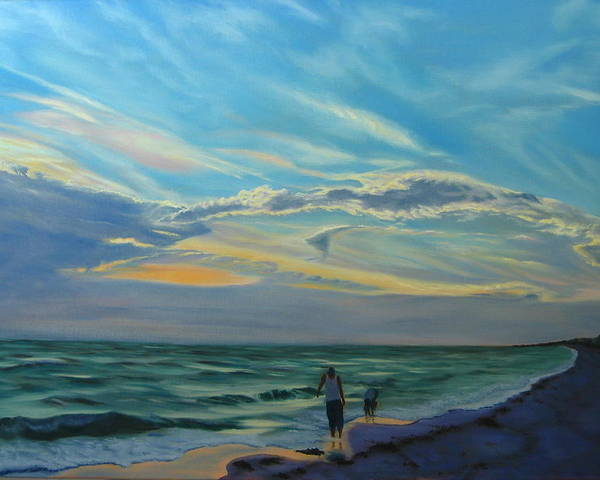 Seascape Poster featuring the painting Sunset Treasure Hunt by Lea Novak