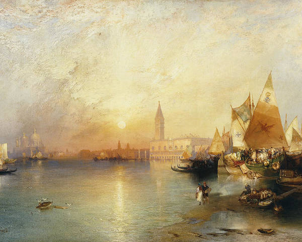American Artist;american Painting Poster featuring the painting Sunset Venice by Thomas Moran