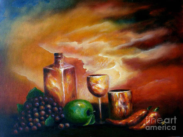 Still Life Poster featuring the painting Sunset With Green Apple by MM Zurahov