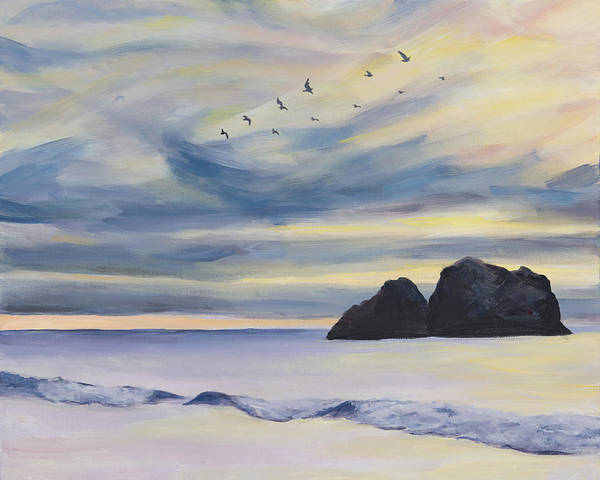 Seascape Poster featuring the painting Sunset by Youngjin Hwang