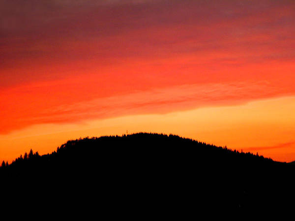 Sunset Poster featuring the photograph Sunsetting Over Forest Grove Mountains by Nick Gustafson