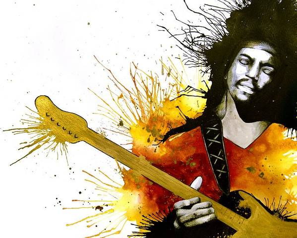Jimi Hendrix Poster featuring the painting Sunshine Of Your Love by Amber Bambler Keller