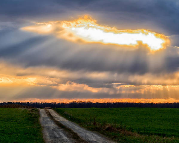 Sunshine Poster featuring the photograph Sunshine Through The Clouds by Carol Ward