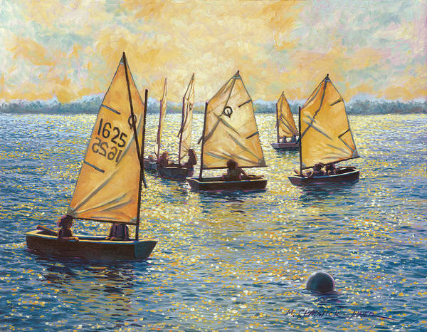 Sun Poster featuring the painting Sunwashed Sailors by Marguerite Chadwick-Juner
