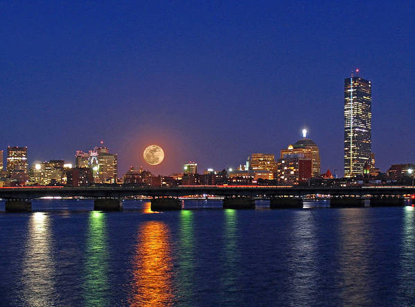 Boston Poster featuring the photograph Super Moon Over Boston by Juergen Roth
