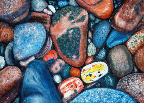 Rocks Poster featuring the painting Superior View by Patricia Ortman