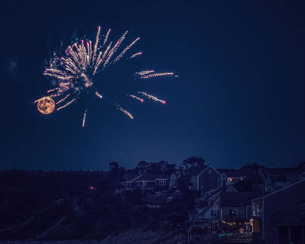 Black Brook Shop Poster featuring the photograph Supermoon And Fireworks by Black Brook Photography