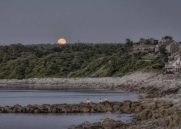 Black Brook Shop Poster featuring the photograph Supermoon Beachfront At Dusk by Black Brook Photography